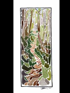 "Appalachian Trail in Spring - 24x51"" - Acrylic on Yupo"